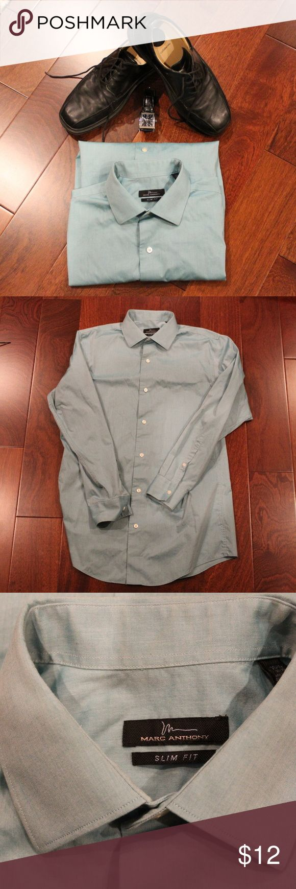 Marc Anthony Dress Shirt The Marc Anthony Slim Fit dress shirt brings a contemporary flare to any closet. The fabric fights wrinkles all day long to keep you looking your best! The material is also light weight and breathable to keep you comfortable. The teal color blends well with black or gray dress pants, and a patterned wide tie. Marc Anthony Shirts Dress Shirts