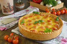 Открытый пирог киш с курицей и грибами