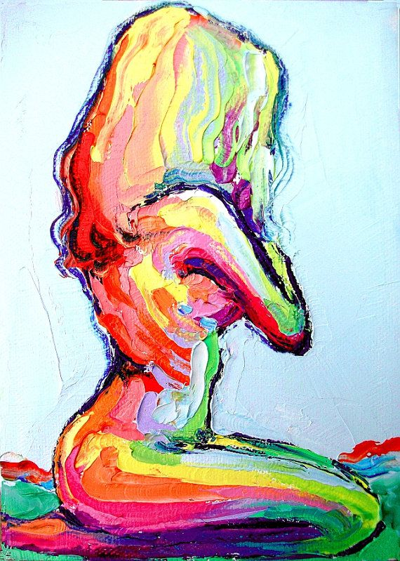 Nude oil painting abstract figure impasto by SagittariusGallery This looks great with my others from Aja!