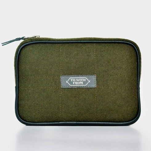 Felt Cotton Leather Army Green Cadet Travel Case