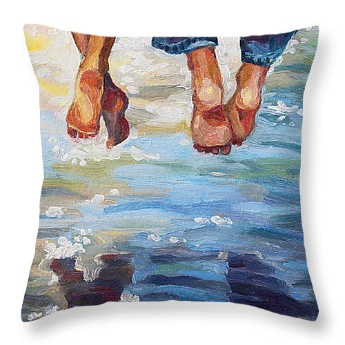 SIMPLY TOGETHER by ALINA MALYKHINA.   Belongs to the Gallery RUSSIAN ARTISTS NEW WAVE!.  Sunny summer day joy of couple sitting over the water. #RussianArtistsNewWave #AlinaMalykhina #Water #Summer #Love #Joy #Art #Painting #ArtForHome #Prints #Cushion #Pillow #HomeDecor #HomeDesign #ArtForKids