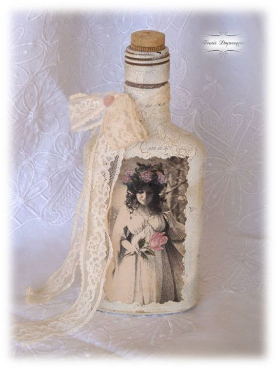Vintage decoupage bottle, with touches of acrylic colour.  My most beloved creation, I just adore the illustrated figure!!!