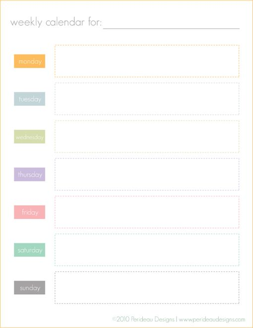 Free printable weekly calendar.  Could use for chore assignments or general to-do lists or meal planning or whatever, really.