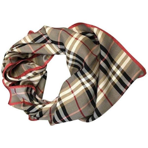 Pre-owned Foulard Burberry (€199) ❤ liked on Polyvore featuring accessories, scarves, beige, burberry, burberry shawl, burberry scarves, polka dot scarves and pure silk scarves
