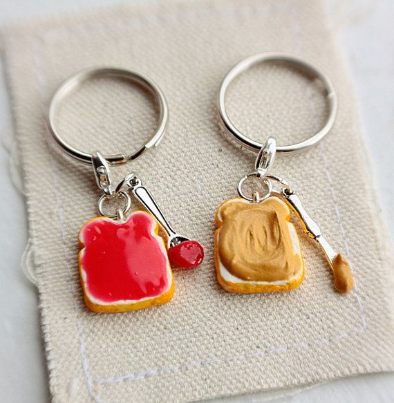 Peanut Butter and Strawberry Jelly Keychain - Friendship Keychain (2pcs) - Food Jewelry, Best Friends Keychains