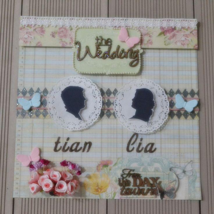 "30x30cm wedding scrapbook using DCWV stack ""primrose"""