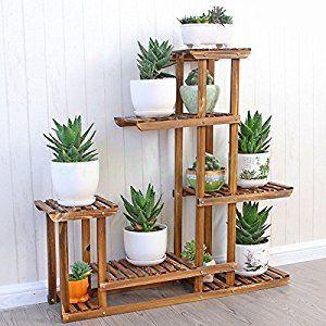 malayas wooden plant flower display stand wood pot shelf storage rack outdoor indoor 6 pots holder