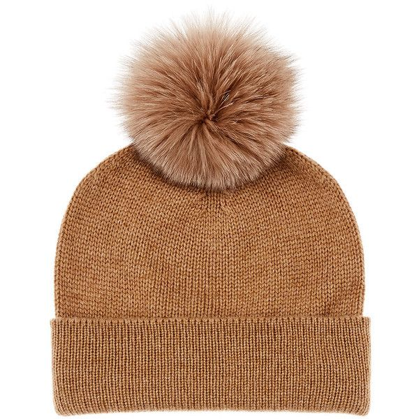 Barneys New York Men's Fur Pom-Pom Cashmere Beanie ($325) ❤ liked on Polyvore featuring men's fashion, men's accessories, men's hats, tan, mens fur hats, mens beanie caps, mens cashmere beanie hat, mens beanie hats and mens pom pom hat