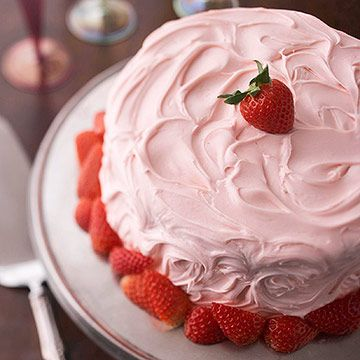 Combine two classics, strawberries and champagne, for a deliciously gorgeous New Year's Champagne Cake. More dessert ideas: http://www.bhg.com/holidays/new-years/recipes/luscious-new-years-desserts/?socsrc=bhgpin122913newyearschampagnecake&page=2