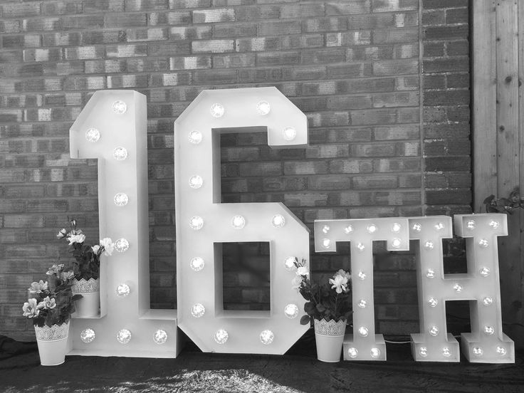 16th Large Light Up Letters for Birthday Celebrations.