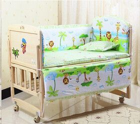 5 Pcs/sets baby bedding set 110x65cm cotton curtain crib bumper baby cot sets baby bed bumper