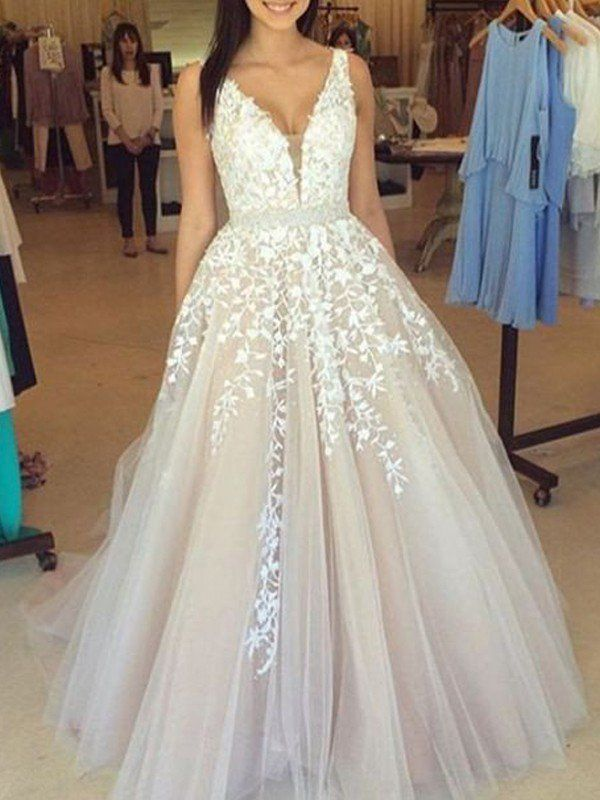 646290a80ae48 A-Line/Princess V-Neck Sleeveless Applique Tulle Sweep/Brush Train Dresses  - Prom Dresses - Hebeos Online