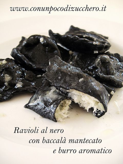 Ravioli al nero con baccalà mantecato e burro aromatico I can male this with chestun flour and black ink