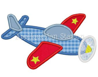 Airplane Plane Applique Machine Embroidery Design blue red boy vehicle INSTANT DOWNLOAD