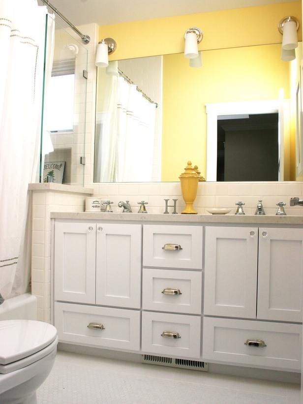 Best 50 double sink bathroom ideas images on pinterest for Bright yellow bathroom ideas
