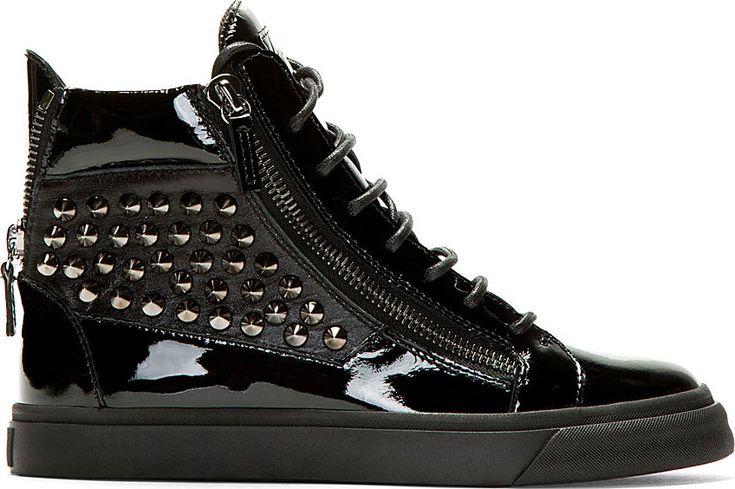 Giuseppe Zanotti - Studded Patent Black High Top