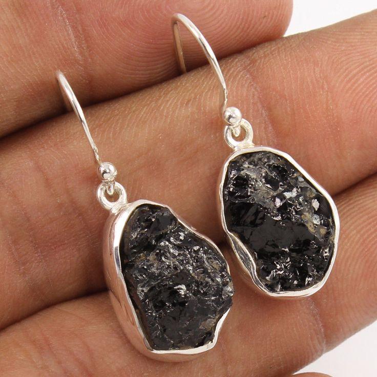 Natural BLACK TOURMALINE Gems 925 Sterling Silver Earrings Lovely Christmas Gift #Unbranded #DropDangle