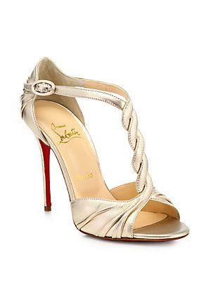 Preciosas sandalias doradas para una novia glamourosa - Christian Louboutin Jazzy Doll Metallic Leather Sandals