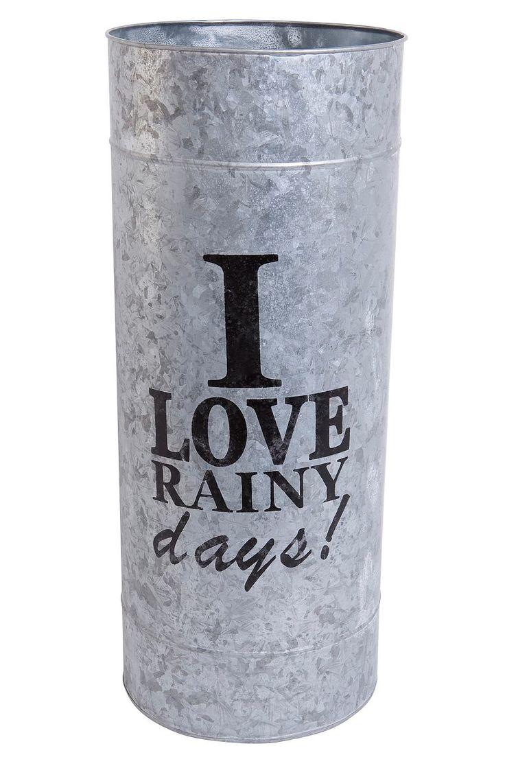 Artikeldetails: Lustiger Schirmständer, Schriftzug »I love rainy days!«, Maße (Ø/H): 23/56 cm, Material/Qualität: Aus verzinktem Blech, ...