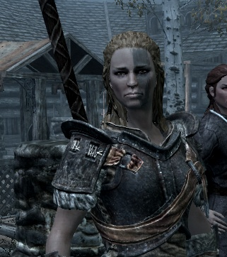 Elder Scrolls: Skyrim    Mjoll the Lioness! My partner in crime. Gave her ALL Ebony Armor!  She and my Dramora Lord .. #CONQUER!!! I sit back and laugh. #Skyrim
