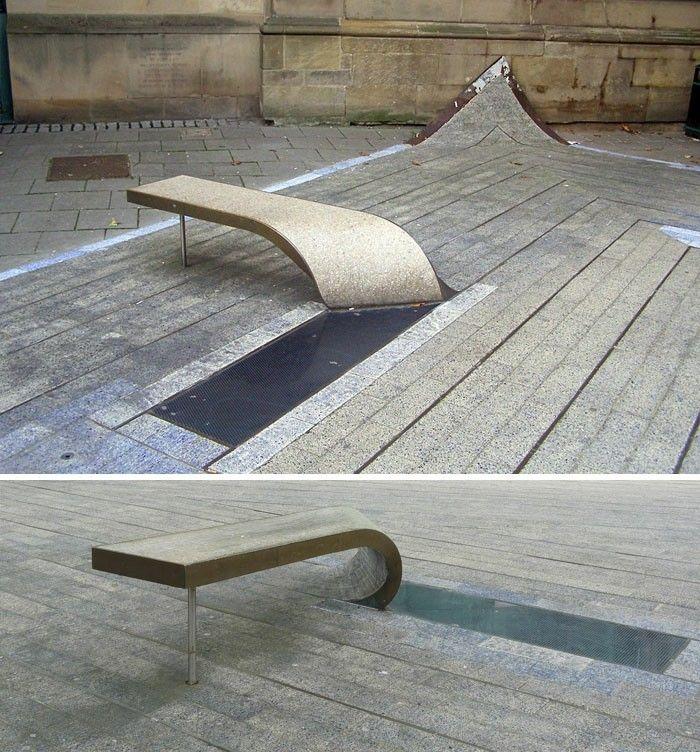 Stone Benchtops Newcastle: Sitzbaenke The Blue Carpet In Newcastle England Schöne Optische Illusion
