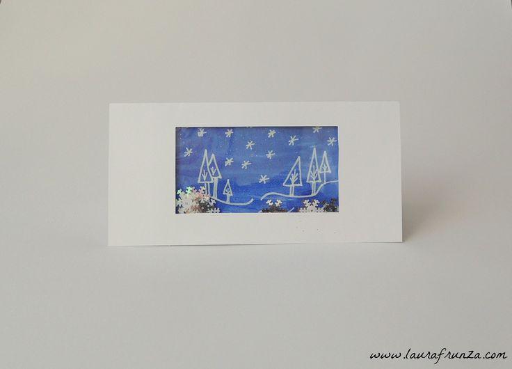 Christmas greeting card with a snowglobe-like window