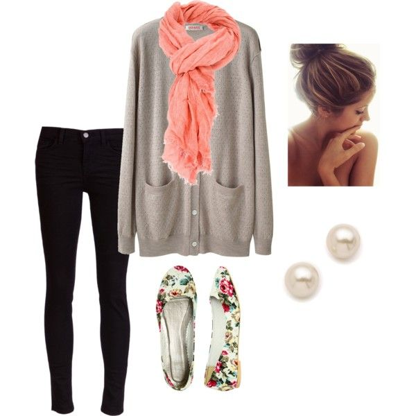 : Cardigans, Fall Clothing, Black Skinny, Skinny Jeans, Autumn Fall, Fall Outfits, Outfits Ideas, Fall Fashion, Floral Flats