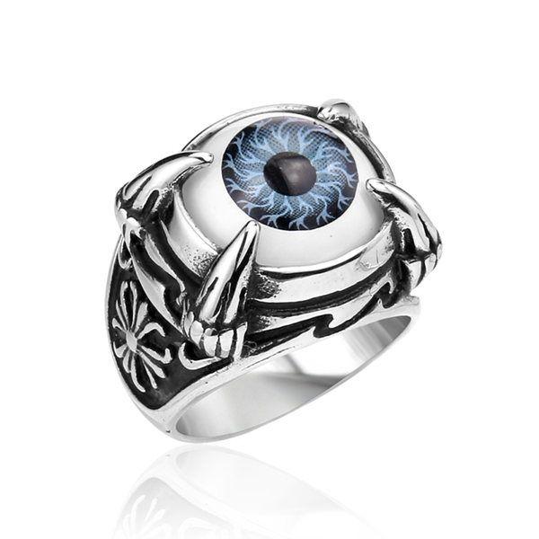 Punk Rock Stainless Steel Dragon Claw Evil Eye Eyeball Ring For Men