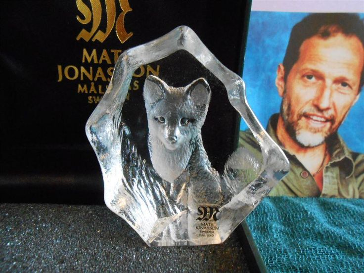 Annons på Tradera: Glas glasblock Mats jonasson Räv