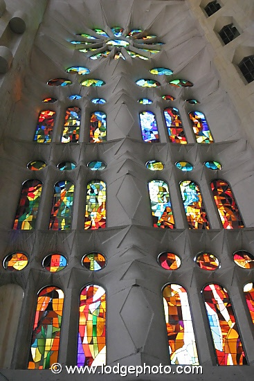 Stained glass window in La Sagrada Familia, Barcelona, Catalonia, Spain.