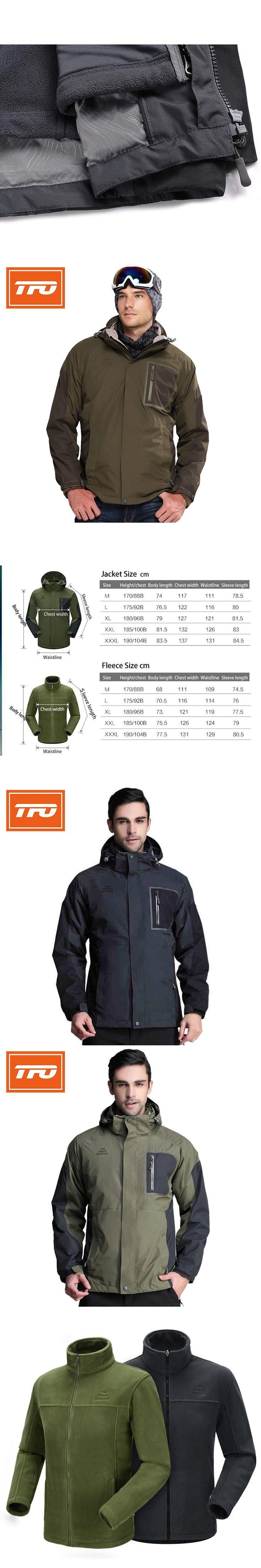 TFO Hiking Jacket Men 3 IN 1 Windstopper Waterpoof Outdoor Sportswear Winter Hooded Rain Coat Thermal Windbreak coat climbing