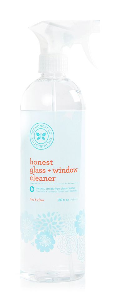 The Honest Company - Glass + Window Cleaner Free & Clear. Plant-based, non-toxic, biodegradable. Available @ honest.com (easy shipping to Canada) #unscented #scentfree #fragrancefree #vegan