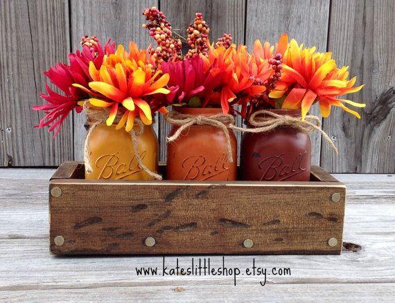 Fall Rustic Planter Box with 3 Painted Mason Jars. Fall Decor. Rustic Home Decor. Thanksgiving. Pumpkin. Burnt Orange. Table Centerpiece.