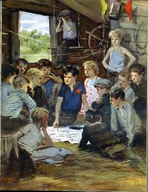 """Гайдар, А. """" Тимур и его команда."""" Художник А. Ермолаев. М.: Детская литература. 1964 г."""