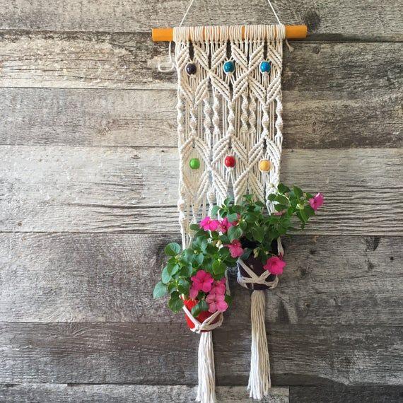 Suspension en macramé de type jardiniere