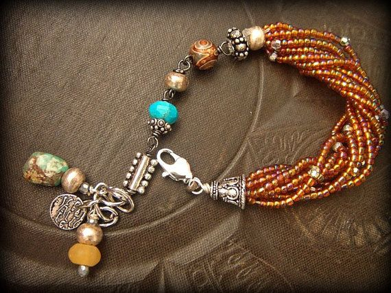 Glass Mixed Gems and Silver Beaded Wrap Charm by yuccabloom, $49.00