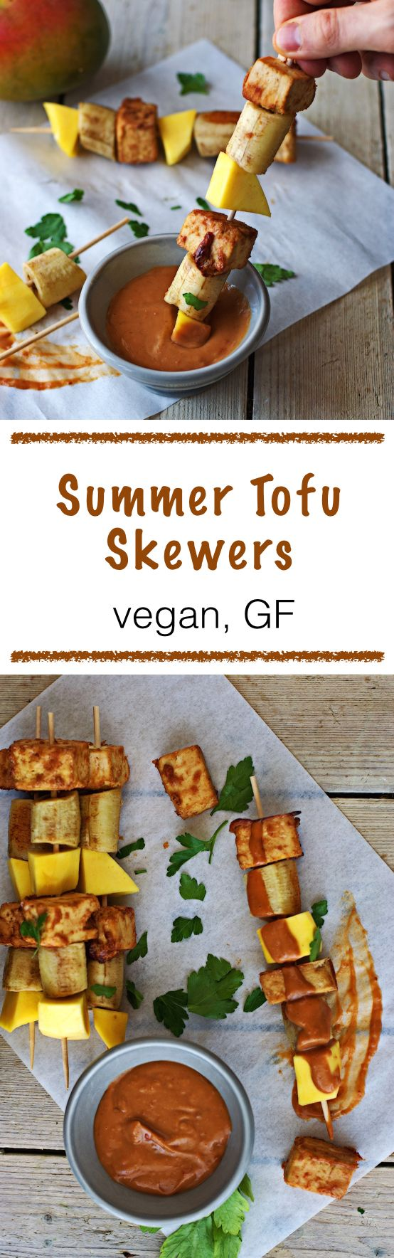 A homemade peanut sauce is both a marinate and a dip for these #vegan skewers. Marinated #tofu cubes, plantains, and mango - that's all it takes to make these either in the oven or on the #grill. Full hearty-fruity taste, light, and simple - an ideal dish for warm #summers.