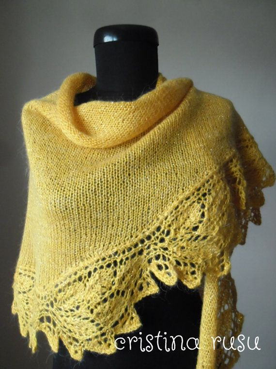 Yellow knit lace shawl hand knitted lace by CrisColourCrochet