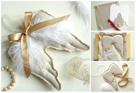 Come fare ali d'angelo da appendere in stoffa, imbottite, facili e belle. Tutorial con spiegazioni in italiano e cartamodello gratis da stampare