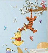 Winnie The Pooh Swings! http://www.muralsforkids.com/products/Winnie-The-Pooh-Swinging-for-Honey-Wall-Mural-Set.html