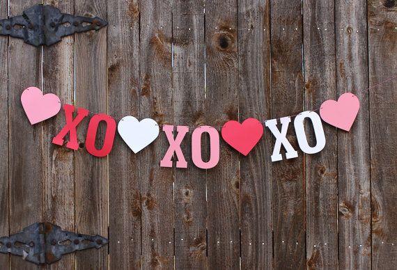 Valentines Day Decor, XOXO Valentines Day Banner, Valentines Garland, Heart Banner, Valentine Decoration, Wedding Photo Prop, Love Banner
