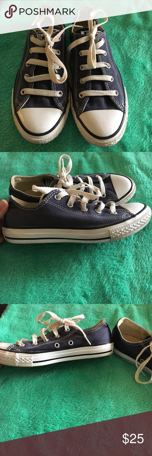 Kids size navy converse Kids size 2 navy converse. Bought from journeys and worn a few times but still great condition. I love them but they just hurt my feet from being to small. I wear a women's size 6 so these might fit a woman's size 5 better. Converse Shoes Sneakers