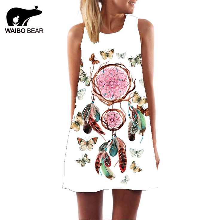 Summer 3D Print Vintage Dress Feather Butterfly Women Beach Chiffon Dress Plus Size Women Clothing Sundresses Vestidos