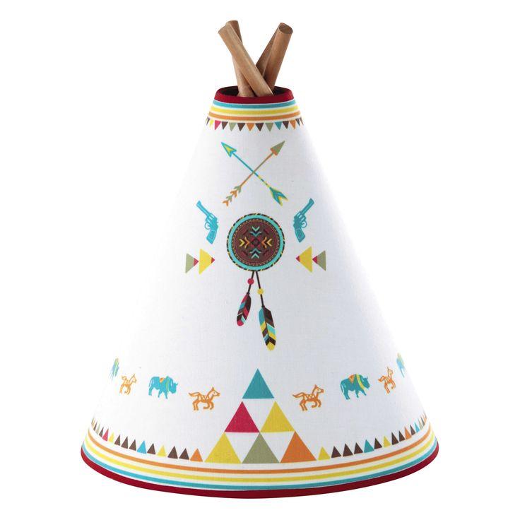 Kinderlampe APACHE in Tipiform aus Holz mit Lampenschirm aus Baumwolle, H 32 cm, mehrfarbig