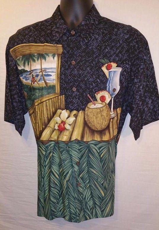 TORI RICHARD Mens Large Hawiian Shirt Hammock Cabana Coconut Pineapple Club L #TORIRICHARD #Hawaiian