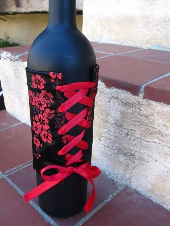 Corset wine bottle cover, cute for bachelorette party favors