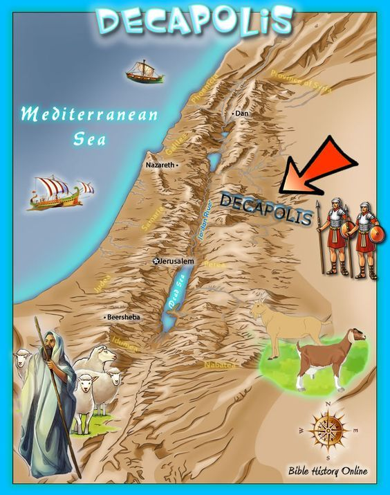 Map of the region of Decapolis the 10 city district revitalized by Rome in the land of Israel: