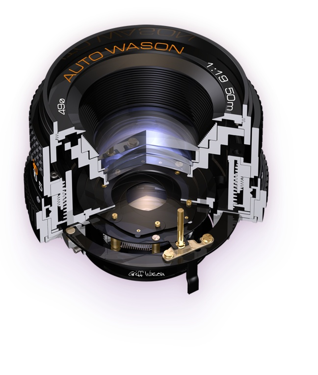 Front 140 deg cutaway illustration of a 50mm F/1.9 Photographic Camera Lens - Griff Wason