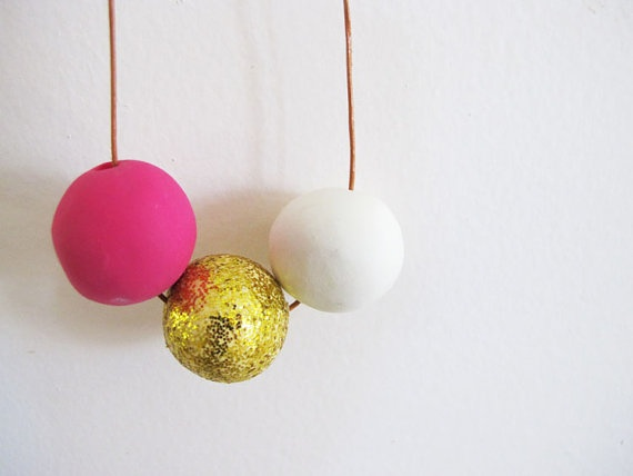 Handmade Neon & Glitter Tridot Necklace In by DanidotDesigns, $25.00