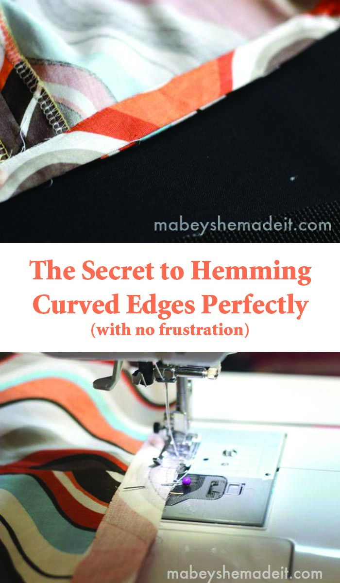 This easy little secret makes it so it's not frustrating or hard to hem curved or rounded edges like on circle skirts, necklines, or rounded corners. They lay perfectly flat too! | Mabey She Made It | #hemming #sewing #facing #tipsandtricks